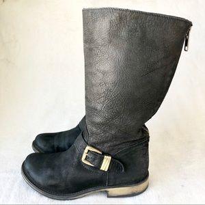 Steve Madden ffyzzle black boots 8 combat zipper